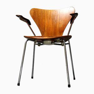 Sedia nr. 3207 in teak di Arne Jacobsen per Fritz Hansen, 1976