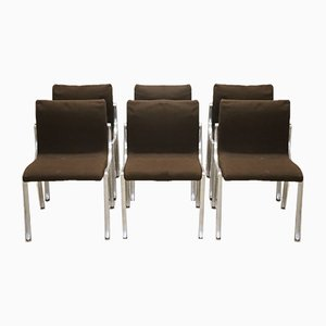 Chromed Metal and Brown Fabric Chairs, 1970s, Set of 6