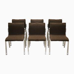 Sedie in metallo cromato e tessuto marrone, anni '70, set di 6