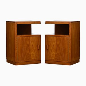 Art Deco Teak Cabinets, 1930s, Set of 2