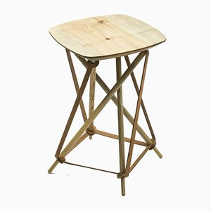 Vintage Pine & Leather Stool from Lith Lith Lundin