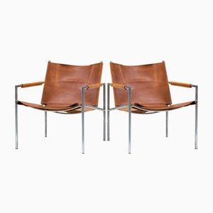 Armlehnstühle aus cognacfarbenem Leder von Martin Visser, 1960er, 2er Set