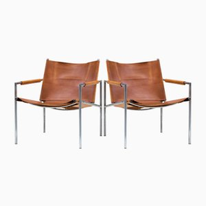 Cognac Leather Armchairs by Martin Visser, 1960s, Set of 2