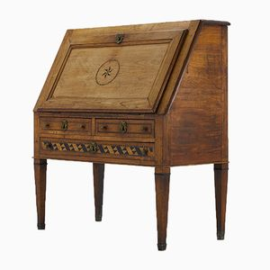 Antique French Cherrywood Secretaire with Ebonised Inlay