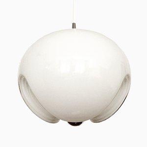Lampada a sospensione Wave in vetro bianco di Koch & Lowy per Peill & Putzer, anni '60