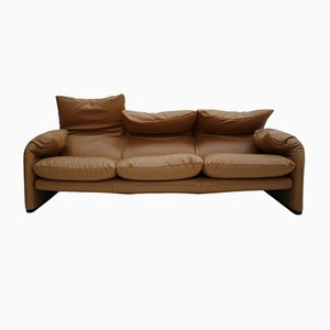 Brown Leather Maralunga Sofa by Vico Magistretti for Cassina, 1970s