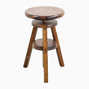Vintage French Wooden Stool