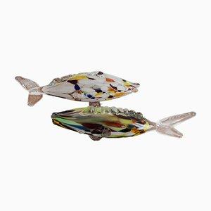 Fisch aus geblasenem Muranoglas, 1960er, 2er Set