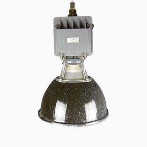 Lámpara de fábrica industrial esmaltada en negro, años 50