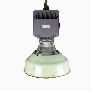Industrial Green Enamel Factory Light, 1950s