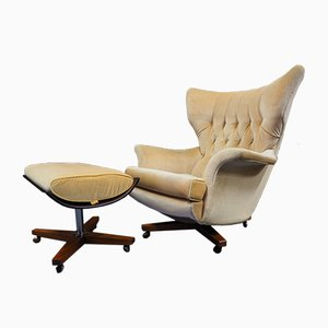 Mid-Century Gold Velvet Armchair & Footstool by Paul Conti for G-Plan