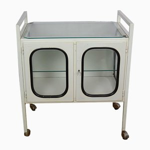 Mid-Century Industrial Mobile Medical Cabinet