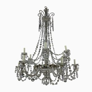 English Cut Glass Chandelier from Perry & Co, 1870s