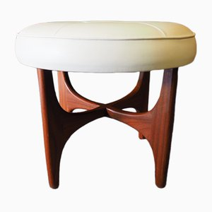 Mid-Century Cream Vinyl Stool from G-Plan, 1960s