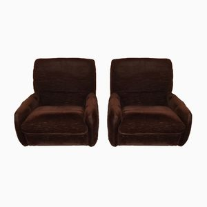 Vintage Brown Velvet Lounge Chairs, 1970s, Set of 2