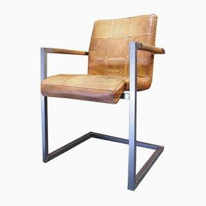 Silla de escritorio Cantilever danesa Mid-Century de retales de cuero