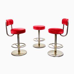 Tabourets de Bar en Velours par Börge Johanson pour Johanson Design, 1970s, Set de 3