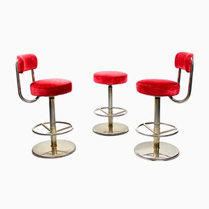 Velvet Bar Stools by Börge Johanson for Johanson Design, 1970s, Set of 3