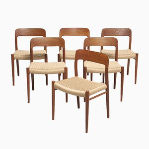 Mid-Century Papercord Dining Chairs by Niels O. Møller for J.L Møllers, Set of 6