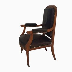 Louis XVI 19th-Century Oak and Leather Armchair