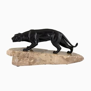 Art Deco Bronze Sculpture Panther by J. Brault France, 1930s