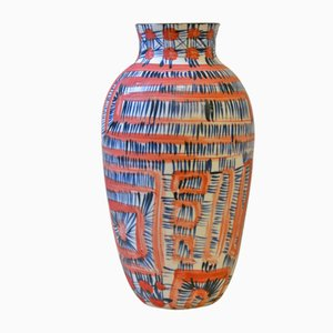 Red & Blue Porcelain Fever Vase by Gur Inbar