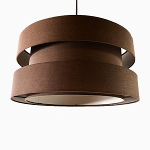 Ceiling Lamp with Brown Fabric Shade, 1970s