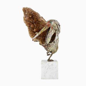 Pelikanskulptur aus emailliertem Silber & Gestein von Aurelio Teno, 1960er