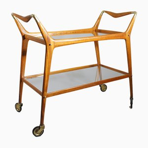 Mahogany and Brass Serving Trolley by Ico & Luisa Parisi for de Baggis, 1950s