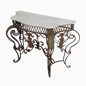 Wrought Iron & Carrara Marble Console Table, 1900s