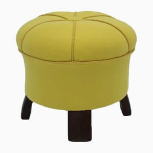 Art Deco Lemon Yellow Pouf, 1930s