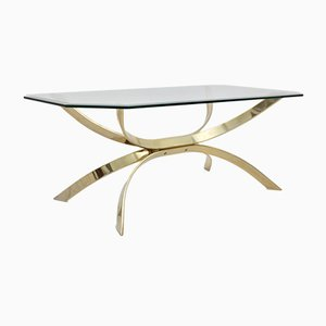 Octagonal Glass and Brass Coffee Table, 1970s