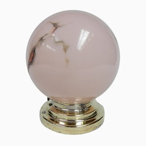 Art Deco Ceiling Lamp with Pink Glass Ball, 1930s