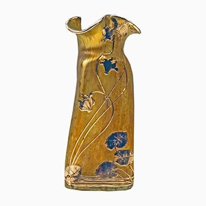Antike Vase mit Silberfassung von Lötz Witwe Klostermühle