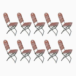 Folding Garden Ash Chairs, 1970s, Set of 10