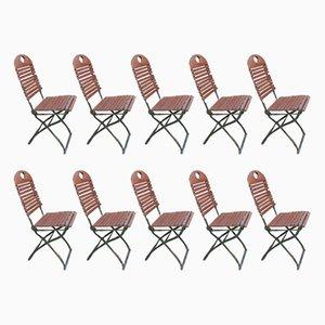 Folding Garden Ash Chairs, 1970s, Set of 10