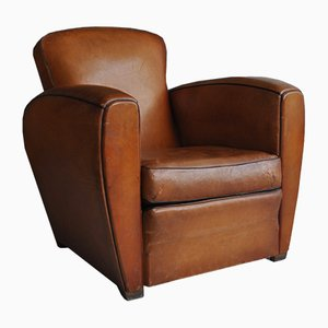 French Leather Armchair, 1950s
