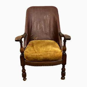 English Leather Fireside Chair, 1920s