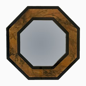 Octogonal Lacquered Mirror by Jean-Claude Mahey, 1970s