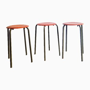 Plywood & Metal Stackable Stools, 1970s, Set of 3