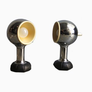 Chrome Table Lamps with Bean Bag Bases, 1970s, Set of 2