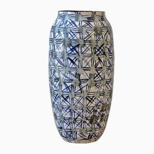 Vaso Fever in porcellana grigia e blu di Gur Inbar