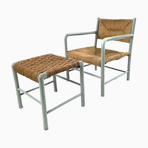 Italienischer Sessel & Fußhocker von Emanuele Rambaldi für Sanguineti, 1930er