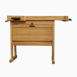 Mesa de trabajo vintage pequeña con compartimento
