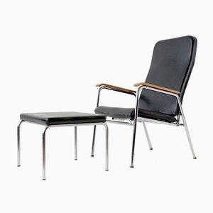 Verstellbarer schweizerischer Sessel & Fußhocker von Embru, 1950er