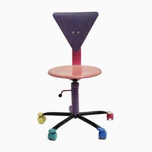 Silla de escritorio ajustable de colores, años 80