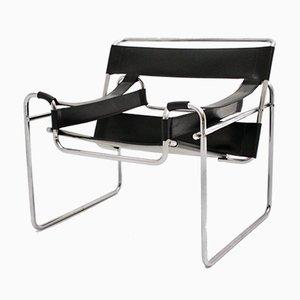 Italian Black Leather Lounge Chair, 1970s