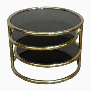 Tavolino da caffè dorato a tre ripiani, Italia, anni '70