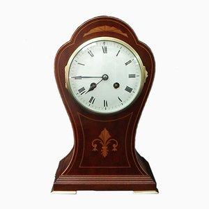 Orologio Art Nouveau in mogano intarsiato, inizio XX secolo