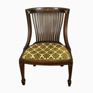 Antiker englischer edwardianischer Beistellstuhl mit Intarsien